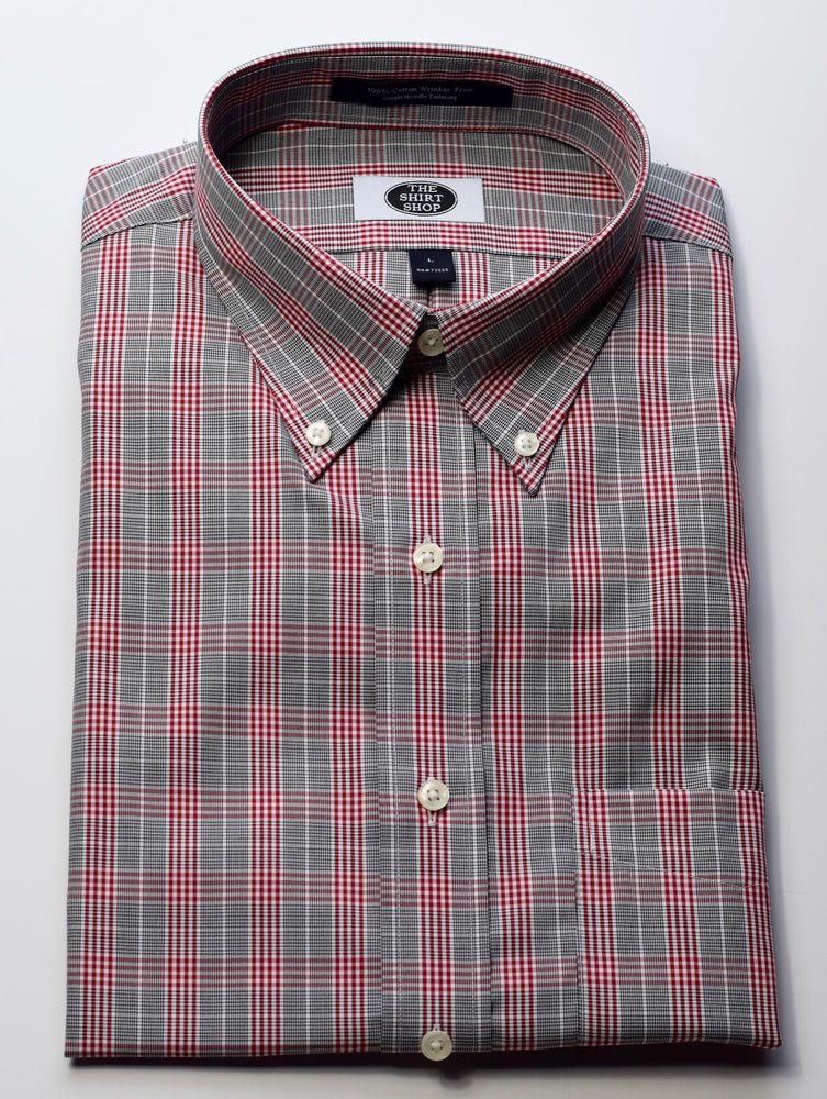 The Shirt Shop Wrinkle Free Crimson and Grey Small Glenn Plaid