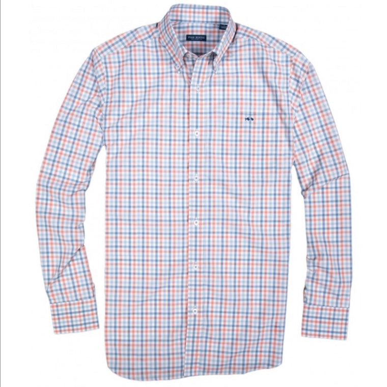 Fish Hippie Crawford Tattersall Button Down - Heritage Blue/ Coral