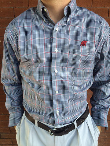 Wrinkle Free Black, White and Crimson Glen Plaid - Elephant Wear or Script A Logo