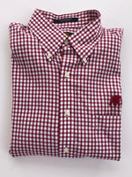 The Shirt Shop Wrinkle Free Crimson and White Medium Check with Logo