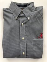 The Shirt Shop Wrinkle Free Black Small Gingham Check with Logo