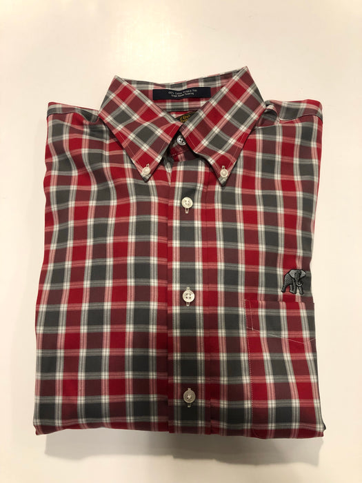 The Shirt Shop Wrinkle Free Crimson and Grey Plaid with White- Silver Logo