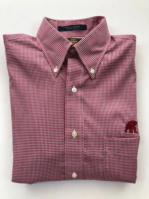 The Shirt Shop Wrinkle Free Crimson Small Gingham Check with Logo