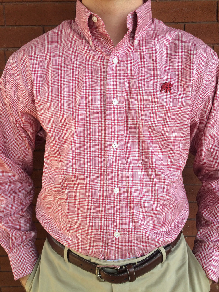 Wrinkle Free Crimson Glenn Plaid - Elephant Wear or Script A Logo