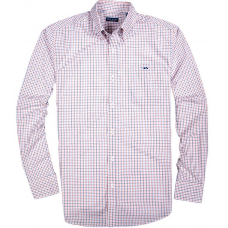 Fish Hippie Braxton Tattersall Button Down - Heritage Blue/Coral