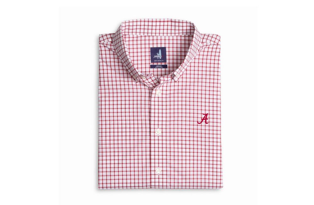Johnnie O Alumni Check Button Down with Alabama Logo