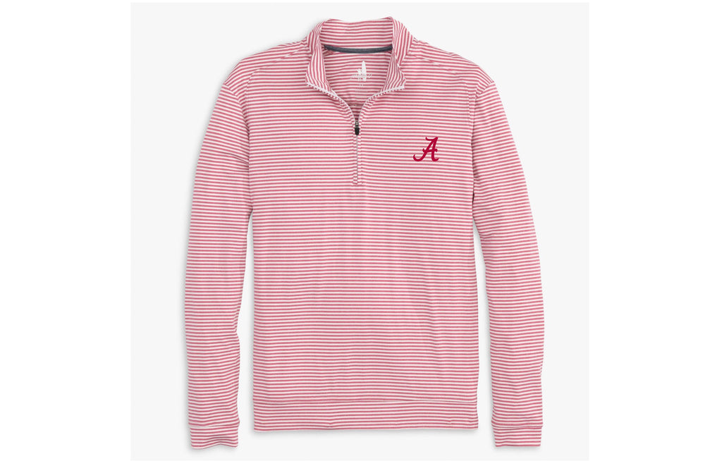 Johnnie O Turn Stripe Quarter Zip with Alabama Logo