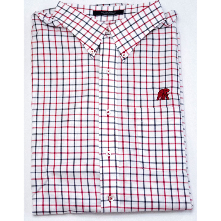 The Shirt Shop Wrinkle Free Crimson/Charcoal Check Button Down