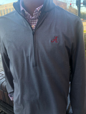 "johnnie-O Aston Micro Fleece Quarter Zip with ""A"" - Gray"