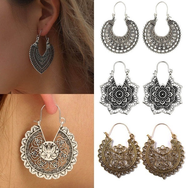 fd8473030 12 Styles Boho New Hollow out Antique silver Tone Gypsy Tribal Ethnic Hoop Dangle  Earrings For ...