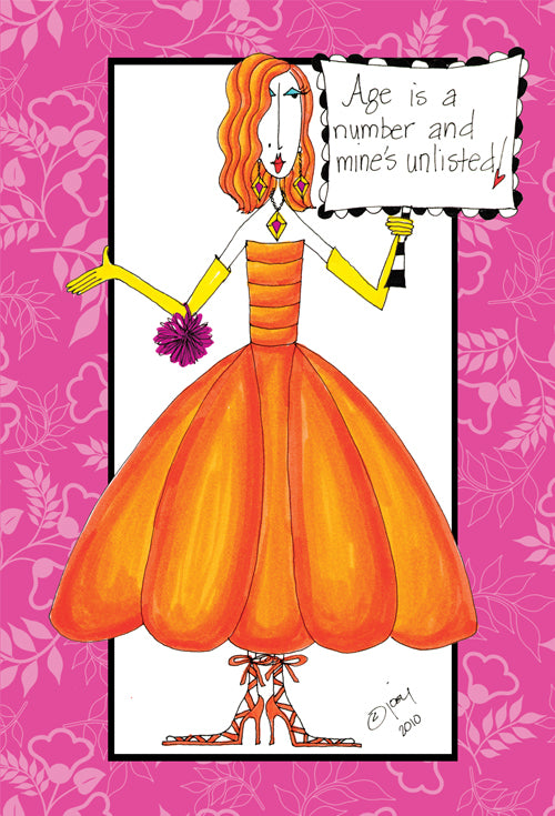 Birthday Card Age is a number Dolly Mama by Joey Llc
