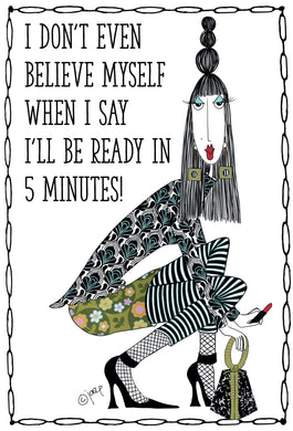 Be Ready in Five Birthday Card Dolly Mamas