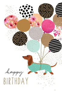 Birthday Card Dog with Balloons Sara Miller