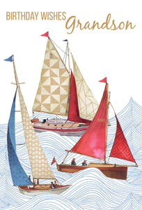 Birthday Grandson Card Sailing Boats