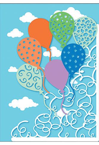 Birthday Card Balloons With Pattern