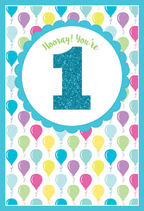 Birthday Card 1st Hooray You're 1