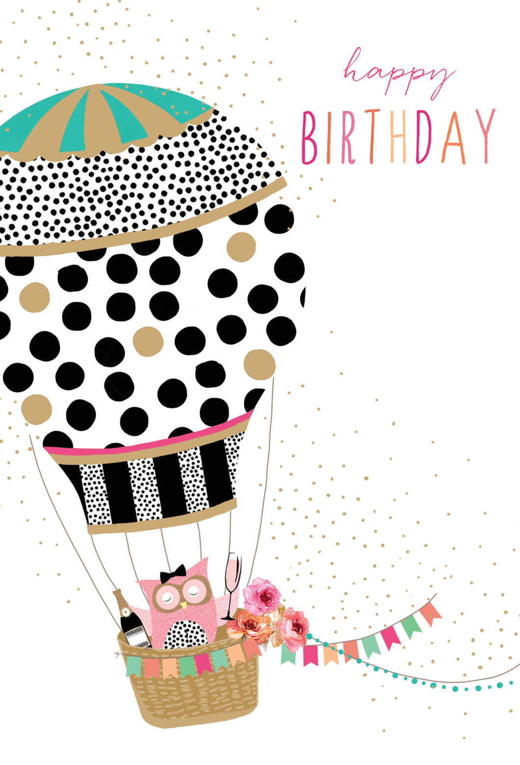 Birthday Card Flying Air balloon Sara Miller - Cardmore
