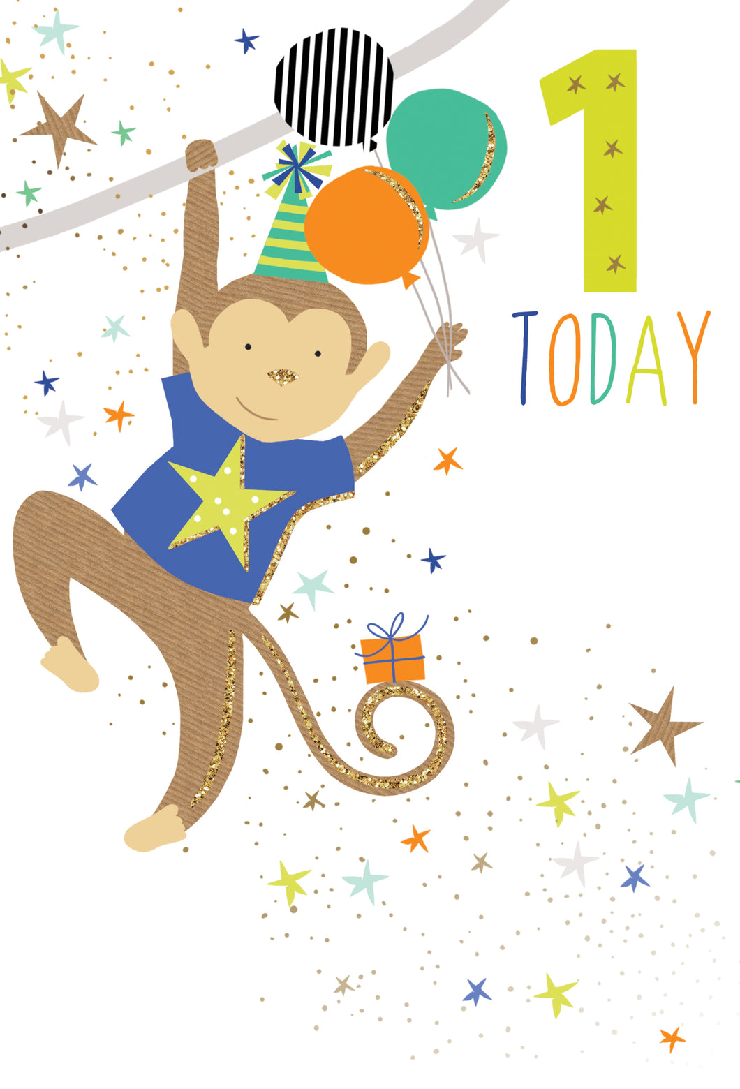 Birthday Card 1st Monkey Sara Miller