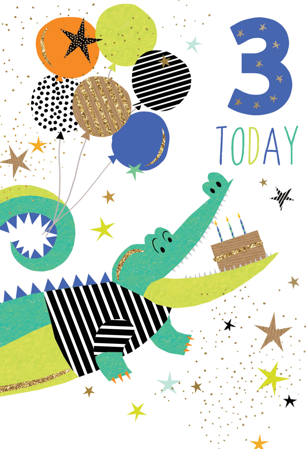Birthday Card 3rd Crocodile Sara Miller