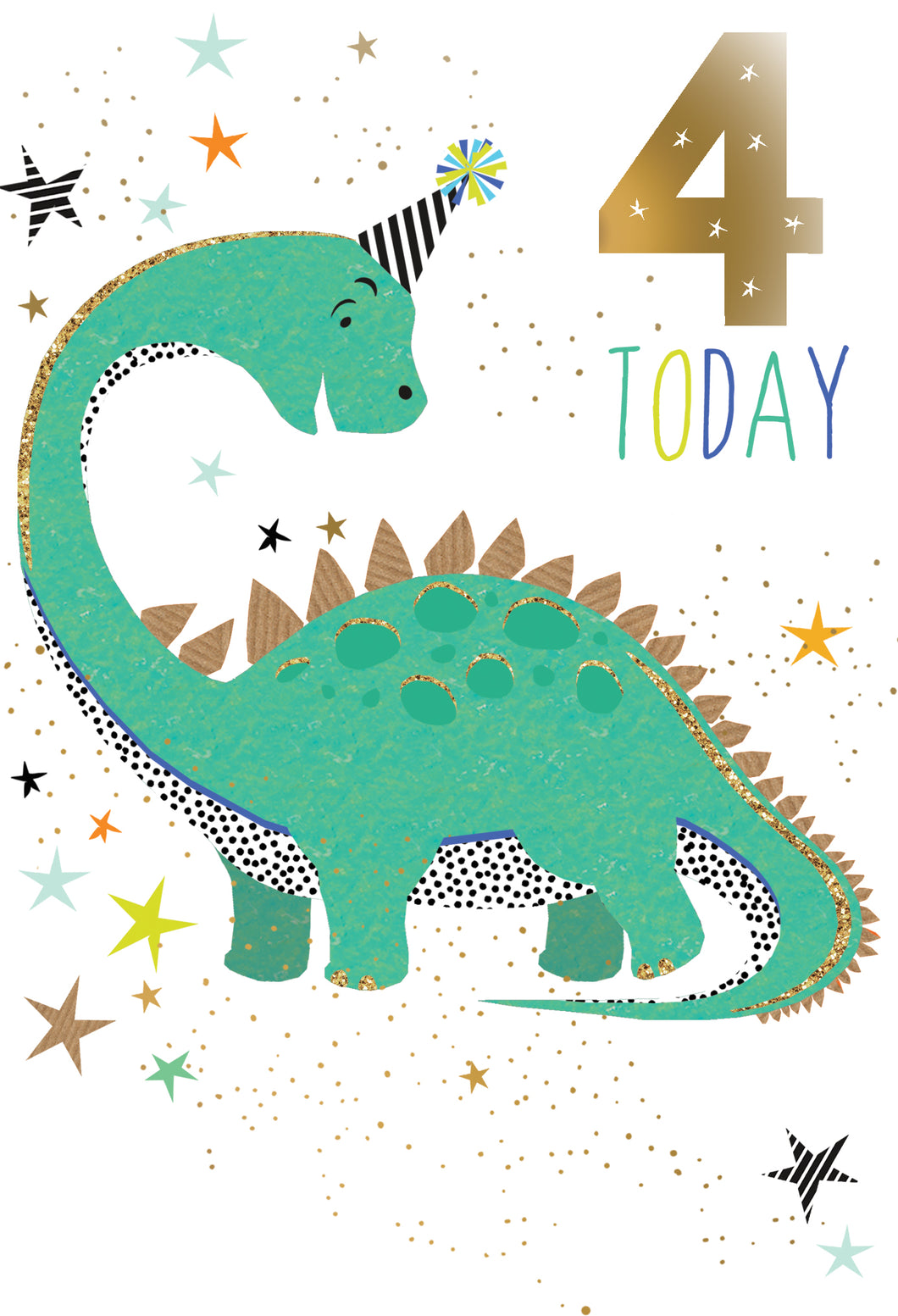 Birthday Card 4th Dinosaur Sara Miller