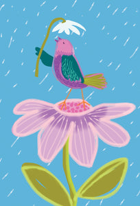 Get Well Card Bird with Flower & Rain