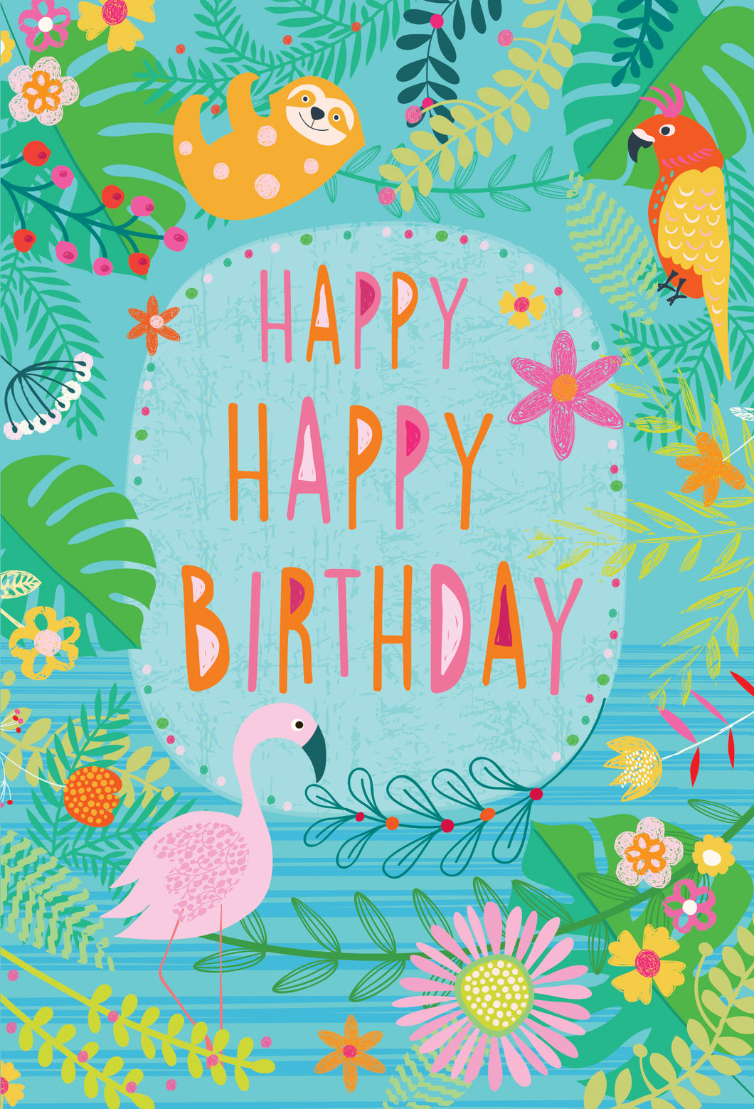 Birthday Card Colorful With Animals