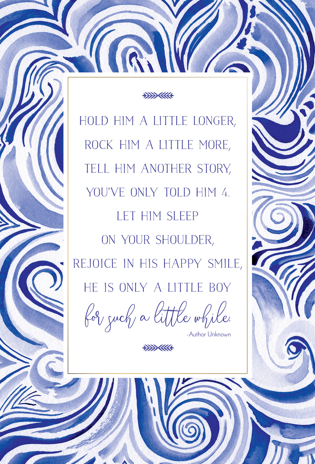 Baby Card Boy with Poem Hold Him a Little Longer Happy Buddha