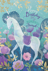 Birthday Card Unicorn Wonderful Friend