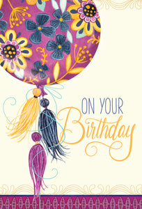 Birthday Card On your Birthday Tassles Patchwork