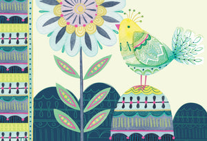 Birthday Card Bird & Flower Patchwork