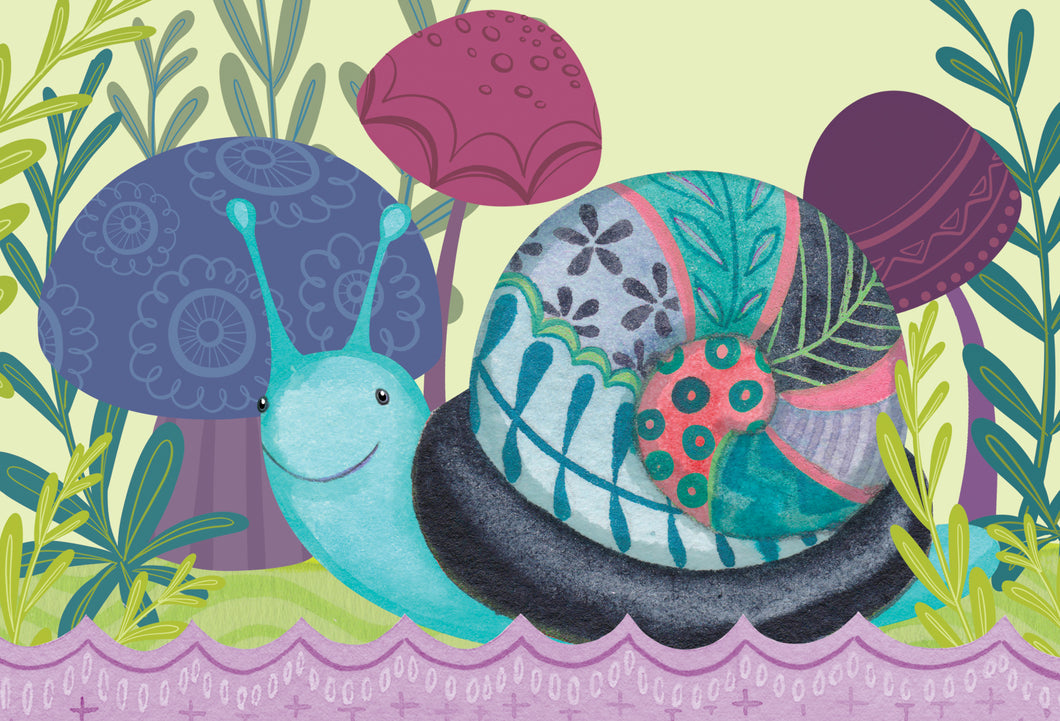 Belated Birthday Card Snail Patchwork