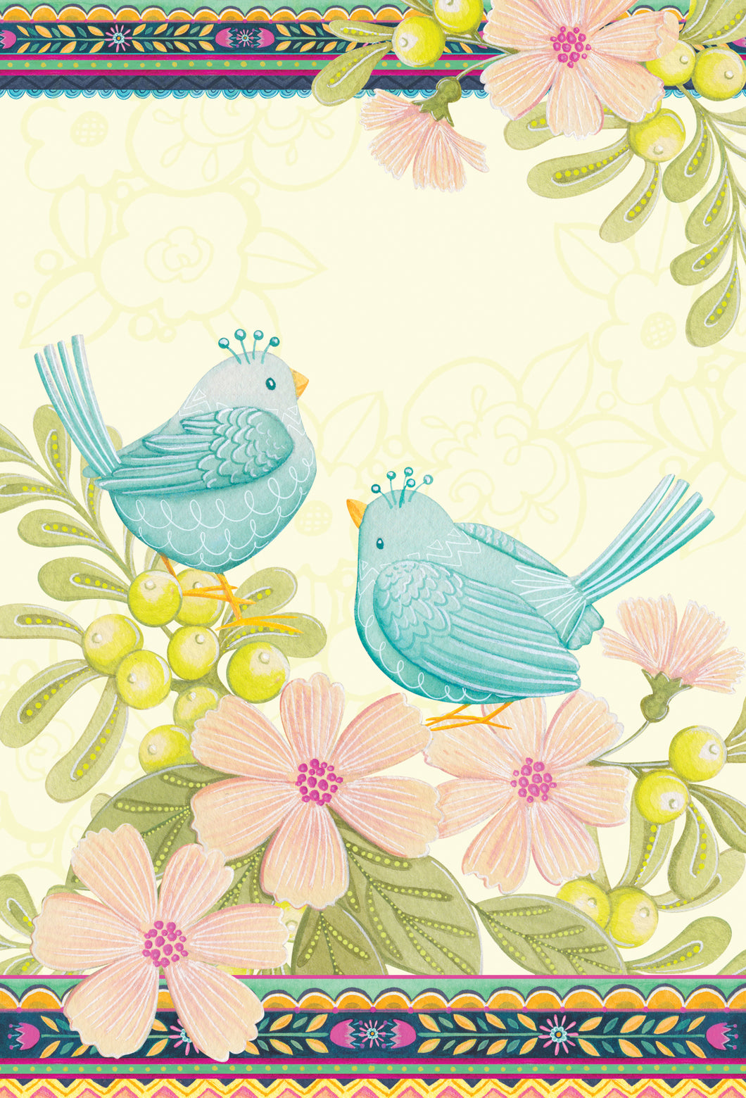 Anniversary Card with Love Birds Patchwork