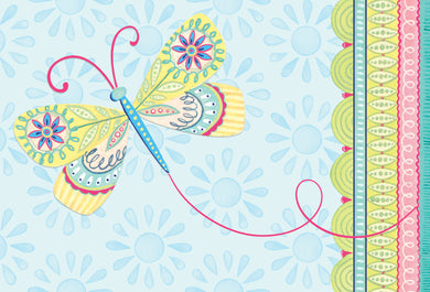 Caring Thoughts Card Dragonfly Patchwork