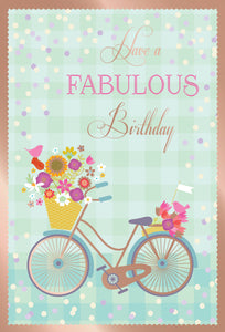 Birthday Card Bike With Flowers