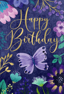 Birthday Card Butterfly Floral Frame