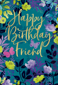 Friendship Birthday Card Floral Frame