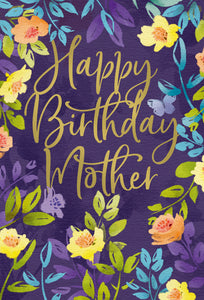 Birthday Mother Card Floral Frame