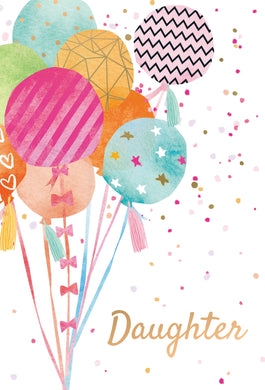 Birthday Daughter Card Balloons And Ribbons