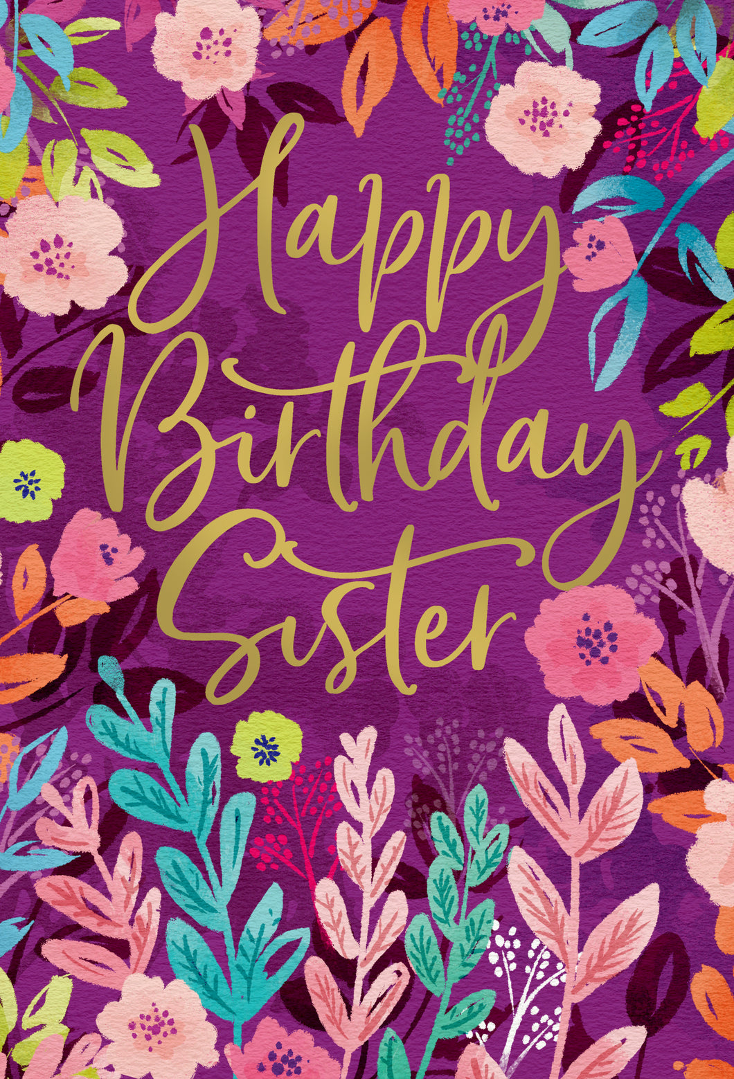 Birthday Sister Card Floral Frame