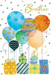 Birthday Brother Card Balloons