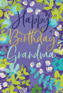 Birthday Grandmother Card Floral Frame