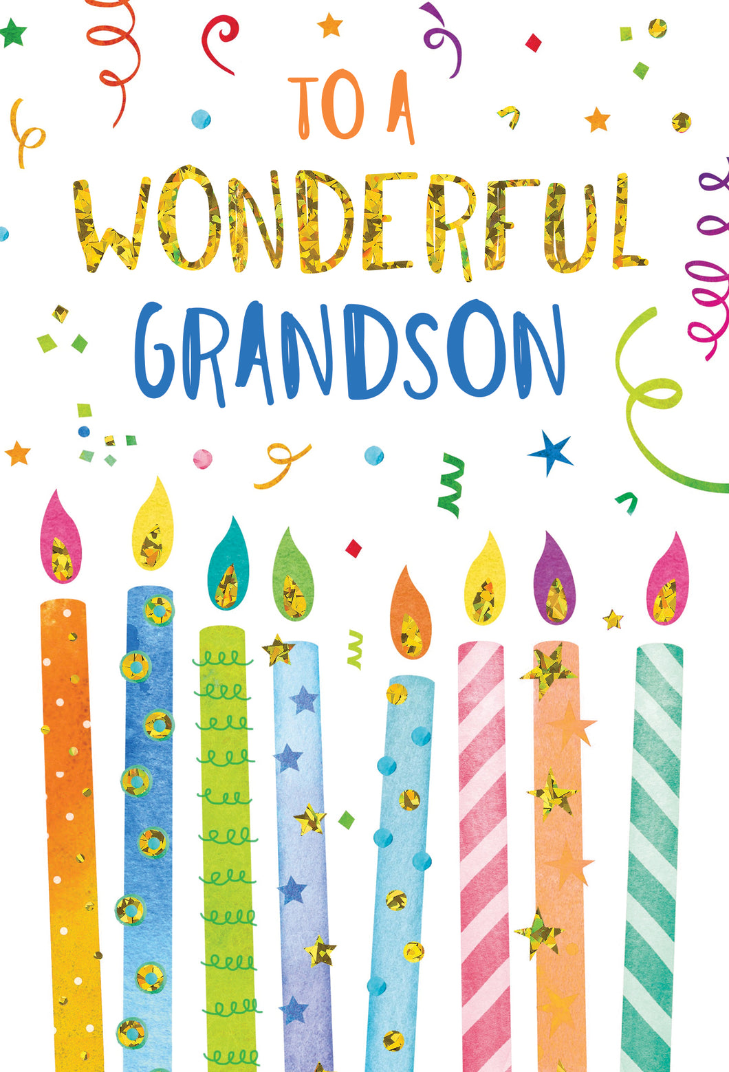 Birthday Grandson Card Candles And Confetti