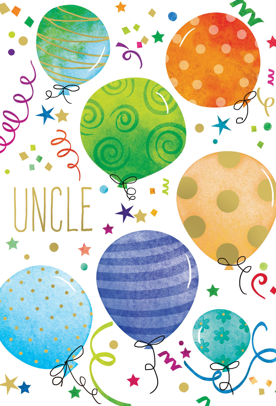Birthday Uncle Card Balloons And Confetti