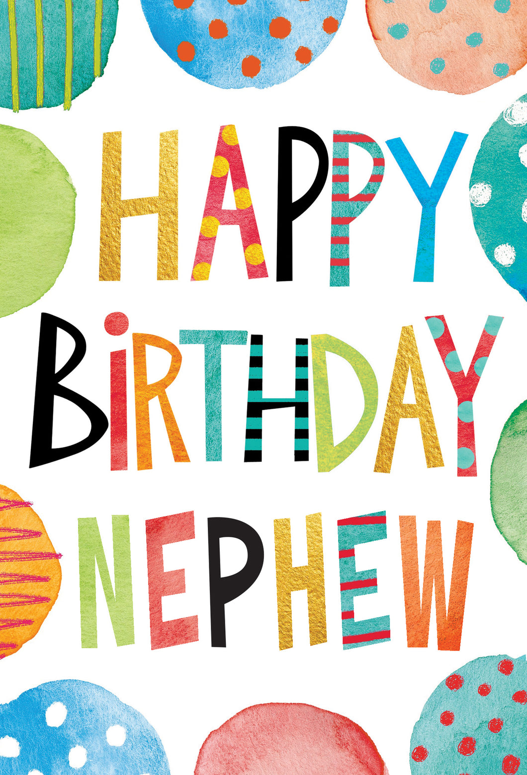 Birthday Nephew Card Text And Circles