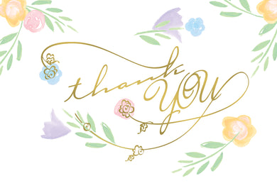 Thank You Card Text And Florals