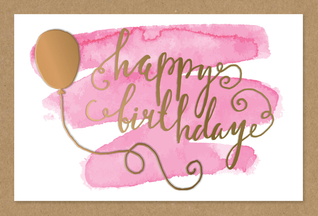 Birthday Card Watercolor Birthday Balloon Kraft