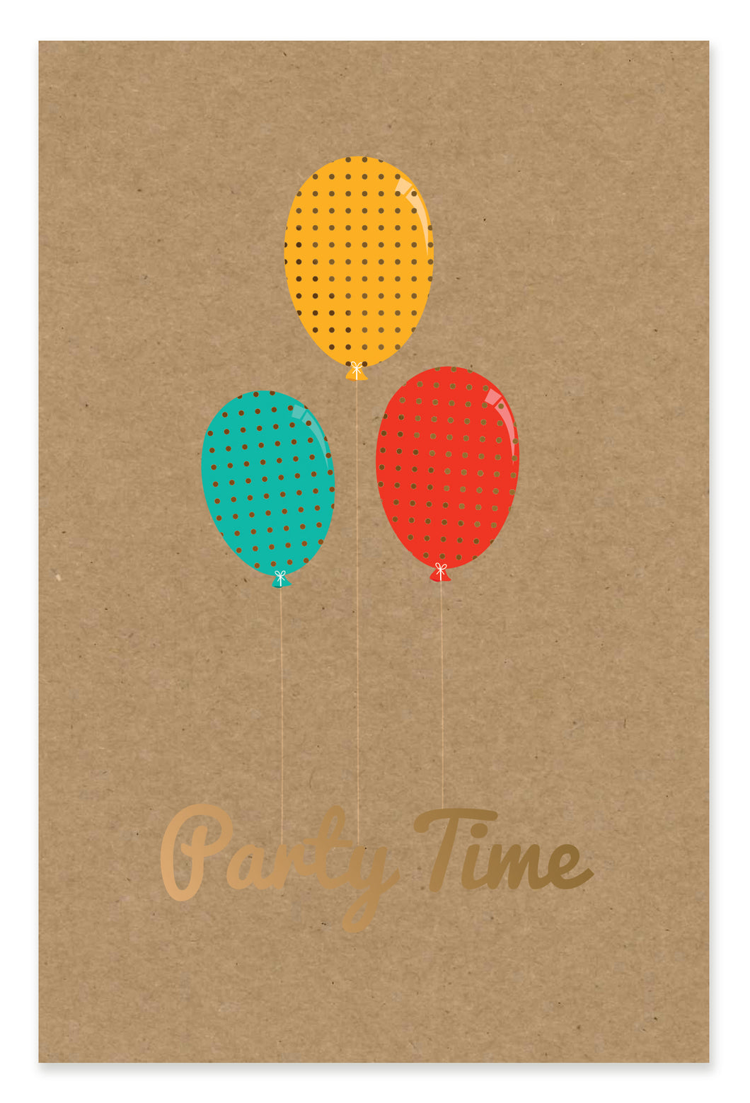 Birthday Card Party Time Balloons Kraft