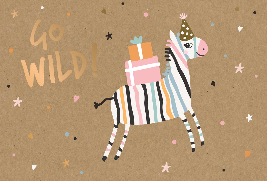 Birthday Child Card Get Wild Zebra Kraft