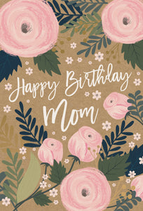 Birthday Mother Card Roses Kraft
