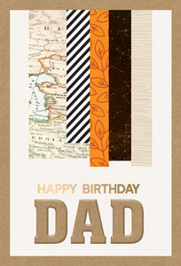 Birthday Father Card Embellished Stripes Kraft